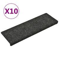 vidaXL Treppenmatten 10 Stk. Grau 65x25 cm Nadelvlies