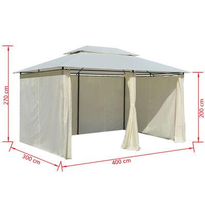 vidaXL Gartenpavillon mit Gardinen 4x3 m Weiß