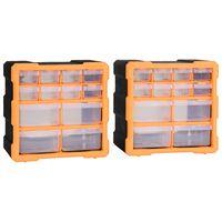 vidaXL Multi-Schubladen-Organizer 2 Stk. 12 Schubladen 26,5x16x26 cm