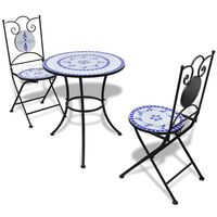vidaXL 3-tlg. Bistro-Set Keramikfliesen Blau und Weiß