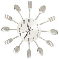vidaXL Wall Clock with Spoon and Fork Design Silver 31 cm Aluminium