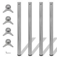 4x höhenverstellbares Tischbein Tischbeine Nickel gebürstet 870 mm