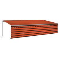vidaXL Gelenkarmmarkise Einziehbar mit Volant & LED 6x3 m Orange Braun