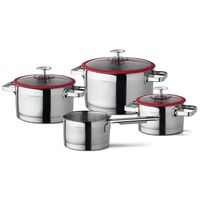 CUISINOX 4-tlg. Kochgeschirr-Set Silbern und Rot
