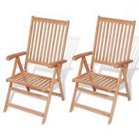 vidaXL Verstellbare Gartenstühle 2 Stk. Massivholz Teak