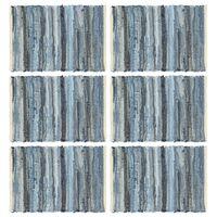 vidaXL Tischsets 6 Stk. Chindi Denim Blau 30 x 45 cm Baumwolle