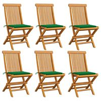 vidaXL Gartenstühle mit Grünen Kissen 6 Stk. Massivholz Teak