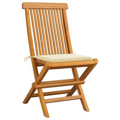 vidaXL Gartenstühle mit Creme Kissen 8 Stk. Massivholz Teak