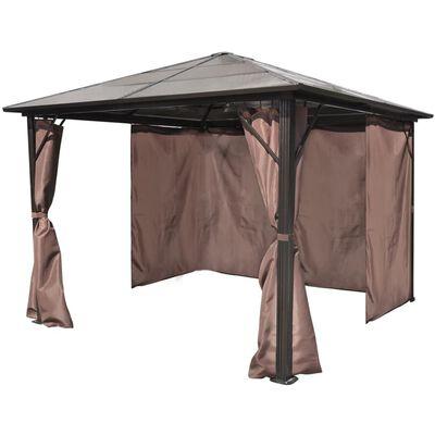 vidaXL Pavillon mit Vorhängen Braun Aluminium 300 x 300 cm