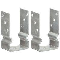 vidaXL Pfostenträger 2 Stk. Silbern 8×6×15 cm Verzinkter Stahl