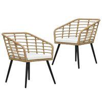 vidaXL Gartenstühle 2 Stk. mit Auflagen Poly Rattan Eiche