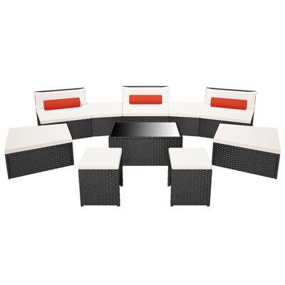 vidaXL 10-tlg. Garten-Lounge-Set mit Auflagen Poly Rattan Schwarz