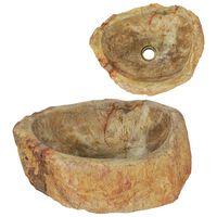 vidaXL Waschbecken 45x35x15 cm Fossil-Stein Cremeweiß