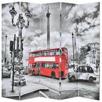vidaXL Raumteiler klappbar 200 x 170 cm London Bus Schwarz-Weiß