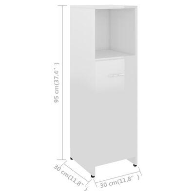 vidaXL Badezimmerschrank Hochglanz-Weiß 30x30x95 cm Spanplatte