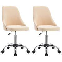 vidaXL Bürostühle 2 Stk. Creme Stoff