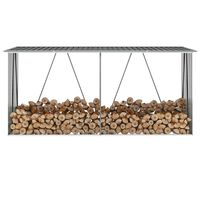 vidaXL Brennholzlager Verzinkter Stahl 330x84x152 cm Anthrazit