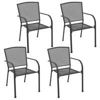 vidaXL Gartenstühle 4 Stk. Mesh-Design Anthrazit Stahl