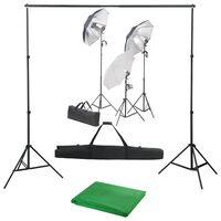 vidaXL Fotostudio-Set mit Lampen-Set und Hintergrund