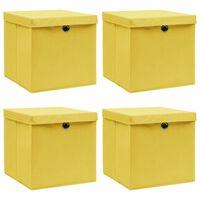 vidaXL Aufbewahrungsboxen mit Deckel 4 Stk. Gelb 32×32×32cm Stoff