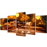 Bilder Dekoration Set Whiskey und Zigarre 100 x 50 cm