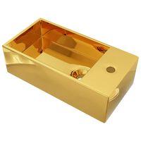 vidaXL Waschbecken mit Überlauf 49 x 25 x 15 cm Keramik Golden