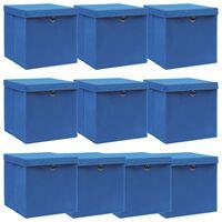 vidaXL Aufbewahrungsboxen mit Deckel 10 Stk. Blau 32×32×32 cm Stoff