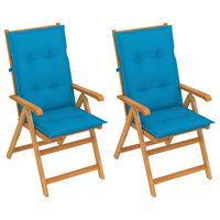 vidaXL Gartenstühle 2 Stk. mit Blauen Auflagen Massivholz Teak