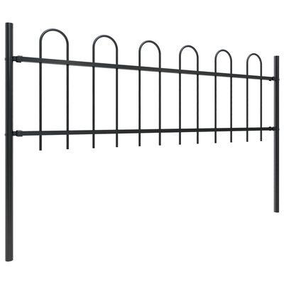 vidaXL Gartenzaun mit Bügel-Design Stahl 5,1 x 0,6 m Schwarz