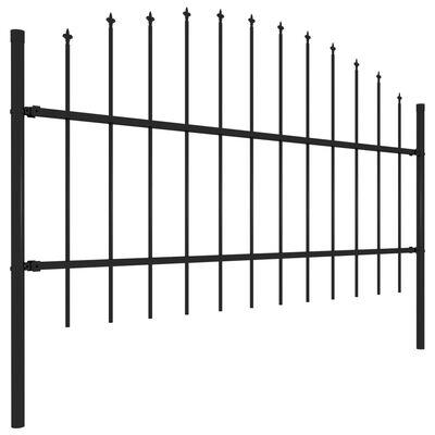 vidaXL Gartenzaun mit Speerspitzen Stahl (0,75 - 1) x 8,5 m Schwarz