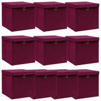 vidaXL Aufbewahrungsboxen Deckel 10 Stk. Dunkelrot 32×32×32cm Stoff
