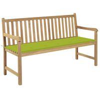vidaXL Gartenbank mit Hellgrüner Auflage 150 cm Massivholz Teak