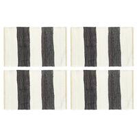 vidaXL Tischsets 4 Stk. Chindi Gestreift Anthrazit und Weiß 30 x 45 cm