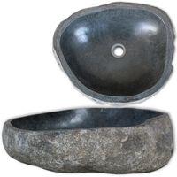 vidaXL Waschbecken Flussstein oval 46-52 cm