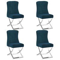 vidaXL Esszimmerstühle 4 Stk. Blau 53x52x98 cm Samt