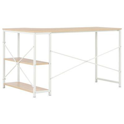vidaXL Computertisch Weiß und Eiche 120×72×70 cm