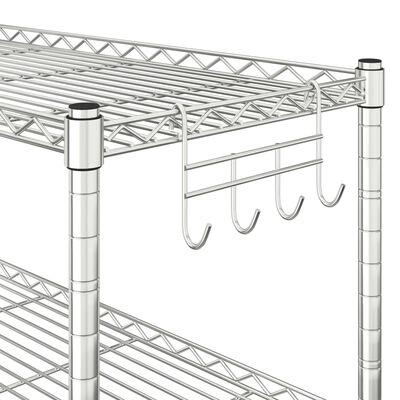 vidaXL Mikrowellenregal mit 2 Ebenen 60x30x60 cm Verchromtes Eisen