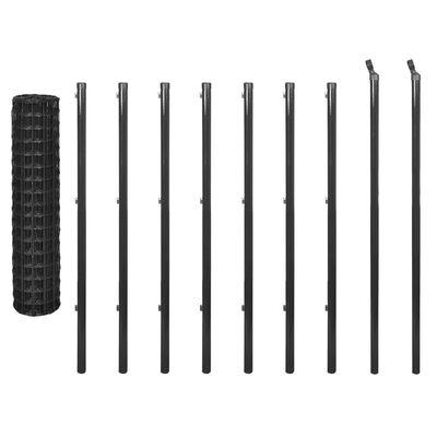 vidaXL Eurozaun Stahl 10 x 1,2 m Grau