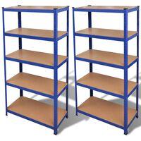2 x Regal Lagerregal Steckregal Metallregal Kellerregal Blau
