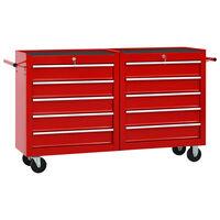 vidaXL Werkzeugwagen mit 10 Schubladen Stahl Rot