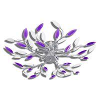 Deckenlampe Lila und weiße Blätterranken mit Acryl-Blättern 5x E14