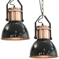 vidaXL Deckenlampe 2 Stk. Schwarz Rund E27