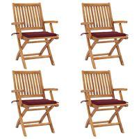 vidaXL Klappbare Gartenstühle mit Kissen 4 Stk. Massivholz Teak