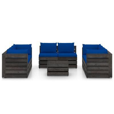 vidaXL 9-tlg. Garten-Lounge-Set mit Kissen Grau Imprägniertes Holz