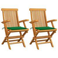 vidaXL Gartenstühle mit Grünen Kissen 2 Stk. Massivholz Teak