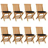 vidaXL Gartenstühle mit Schwarzen Kissen 8 Stk. Massivholz Teak