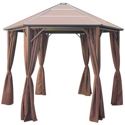 vidaXL Pavillon mit Vorhängen Aluminium Braun 310x270x265 cm