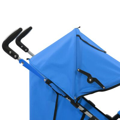 vidaXL 2-in-1 Kinderwagen Buggy Klappbar Blau Stahl