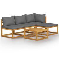 vidaXL 5-tlg. Garten-Lounge-Set mit Auflage Massivholz Akazie