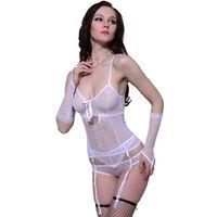 Sexy Damen Lingerie Dessous 3tlg. Set weiß Gr. L / XL